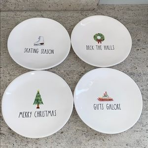 "Rae Dunn""Skating Holiday""appetizer plates.Set of 4"